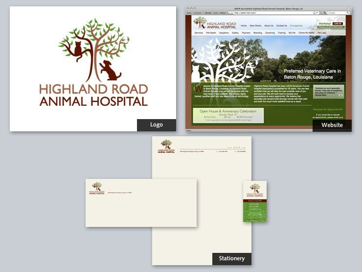 Highland Road Animal Hospital Veterinary Care Packaging Design Stationery