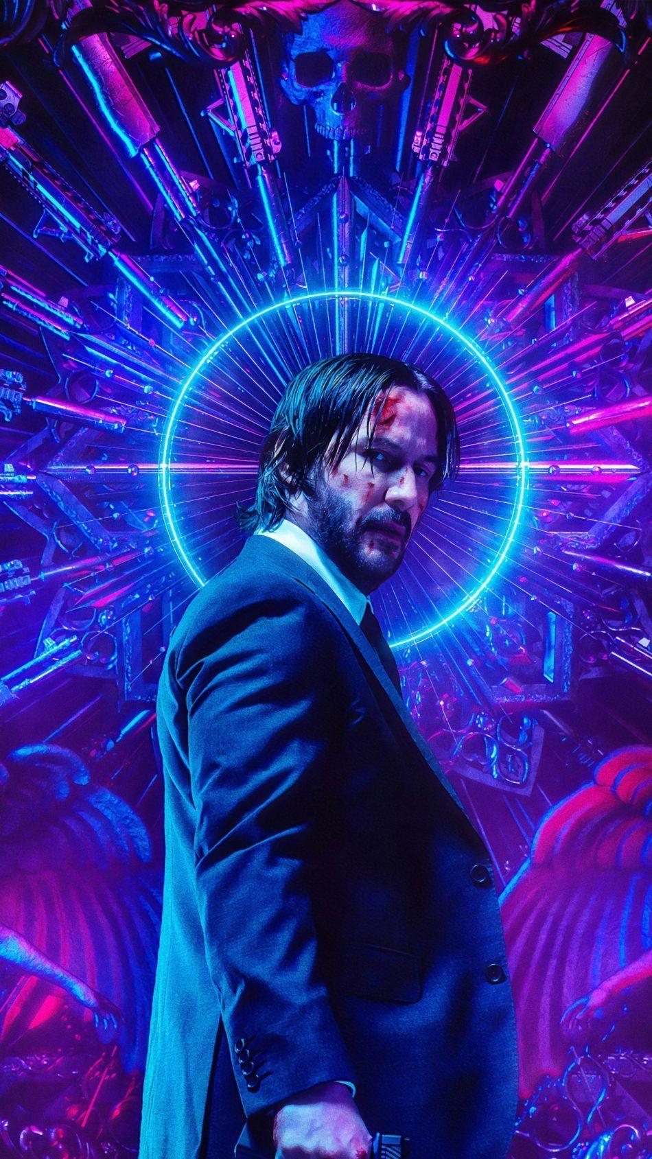Keanu Reeves Neon John Wick Chapter 3 Parabellum 4k Ultra Hd Mobile Wallpaper Watch Link Click On Image Keanu Reeves Klasik Filmler Poster
