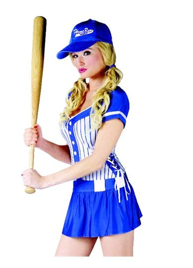 75581e5a05396 Sexy Blue Home Run Girl Baseball Player Womens Halloween Costume Dress