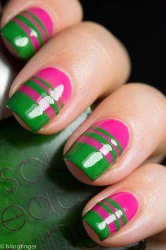 Verde Y Rosa Pink Nail Art Designs Green Nails Red Nails