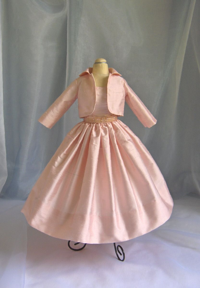 Pink dress with pink jacket  Pale pink silk dress u jacket with beaded belt  Cissy Doll Vintage