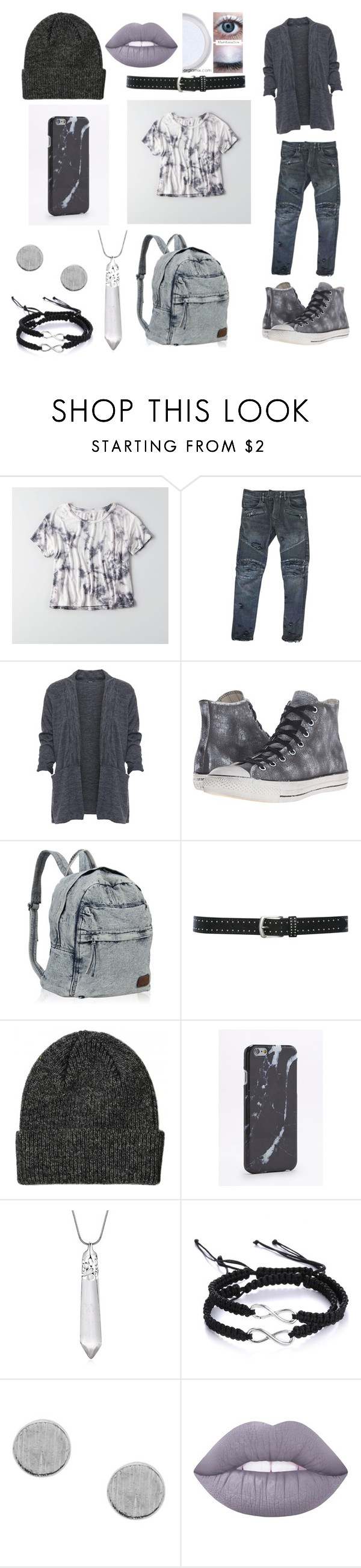 """""""idfk 6"""" by hikick ❤ liked on Polyvore featuring American Eagle Outfitters, Balmain, WearAll, Converse, M&Co and Lime Crime"""