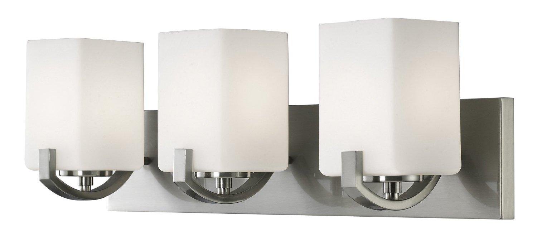 Bathroom Vanity 3 Light Fixture Brushed Nickel Bell Wall: Canarm IVL422A03BN Palmer 3-Light Bath Vanity, Brushed