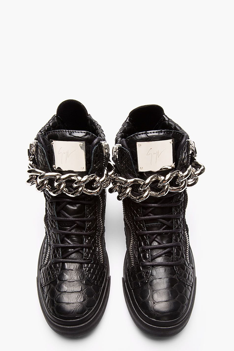 GIUSEPPE ZANOTTI Negro Leather Sneakers Croc Embossed Chain Strap Sneakers Leather 979c41