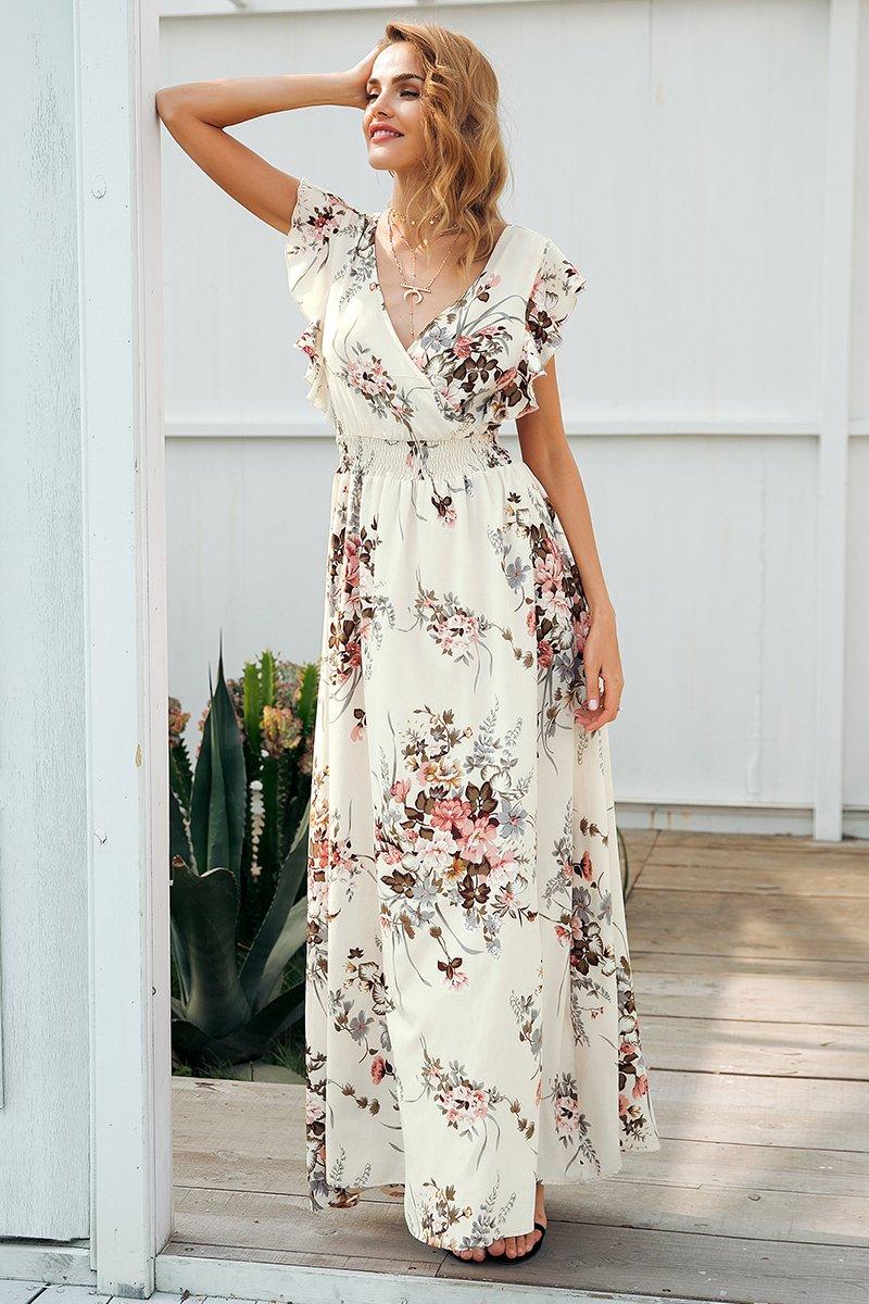 0335edcec118 Ruffles backless bow print long dress Women v neck tie up summer dress  female Casual beach boho chic maxi dress vestidos Material: Polyester  Silhouette: Fit ...