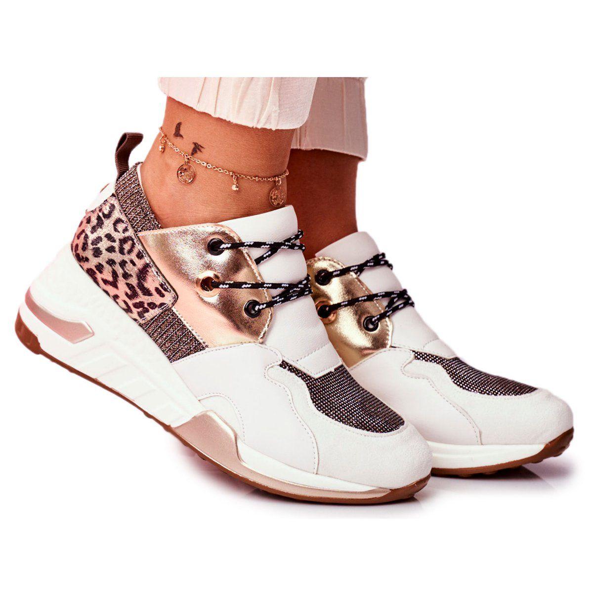 Moow Sportowe Damskie Buty Sneakersy Bialo Zlote Sempre Biale Wielokolorowe Zolte Wedge Sneaker Shoes Sneakers