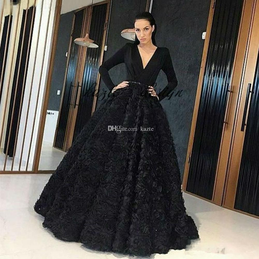 b1302c36e4 Elegant Black 3D Rose Floral Puffy Prom Dresses Deep V Neck Long Sleeve  Formal Dubai Arabic Evening Pageant Wear Flower Red Carpet Gowns Mermaid  Wedding ...
