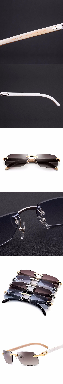 5723c81c62 With Original Logo Box Really Buffalo Horn Carter Glasses Frame Women  Rimless Sunglasses New Men Square