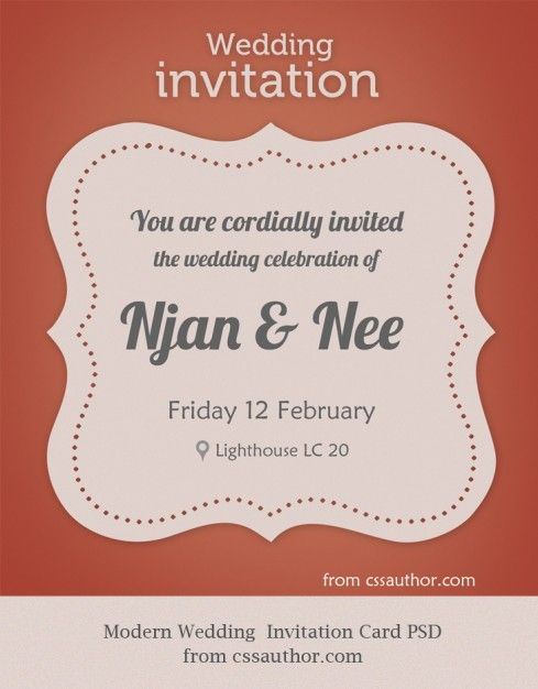 Modern Wedding Invitation Card Psd Modern Wedding Invitations Create Wedding Invitations Wedding Invitation Card Template