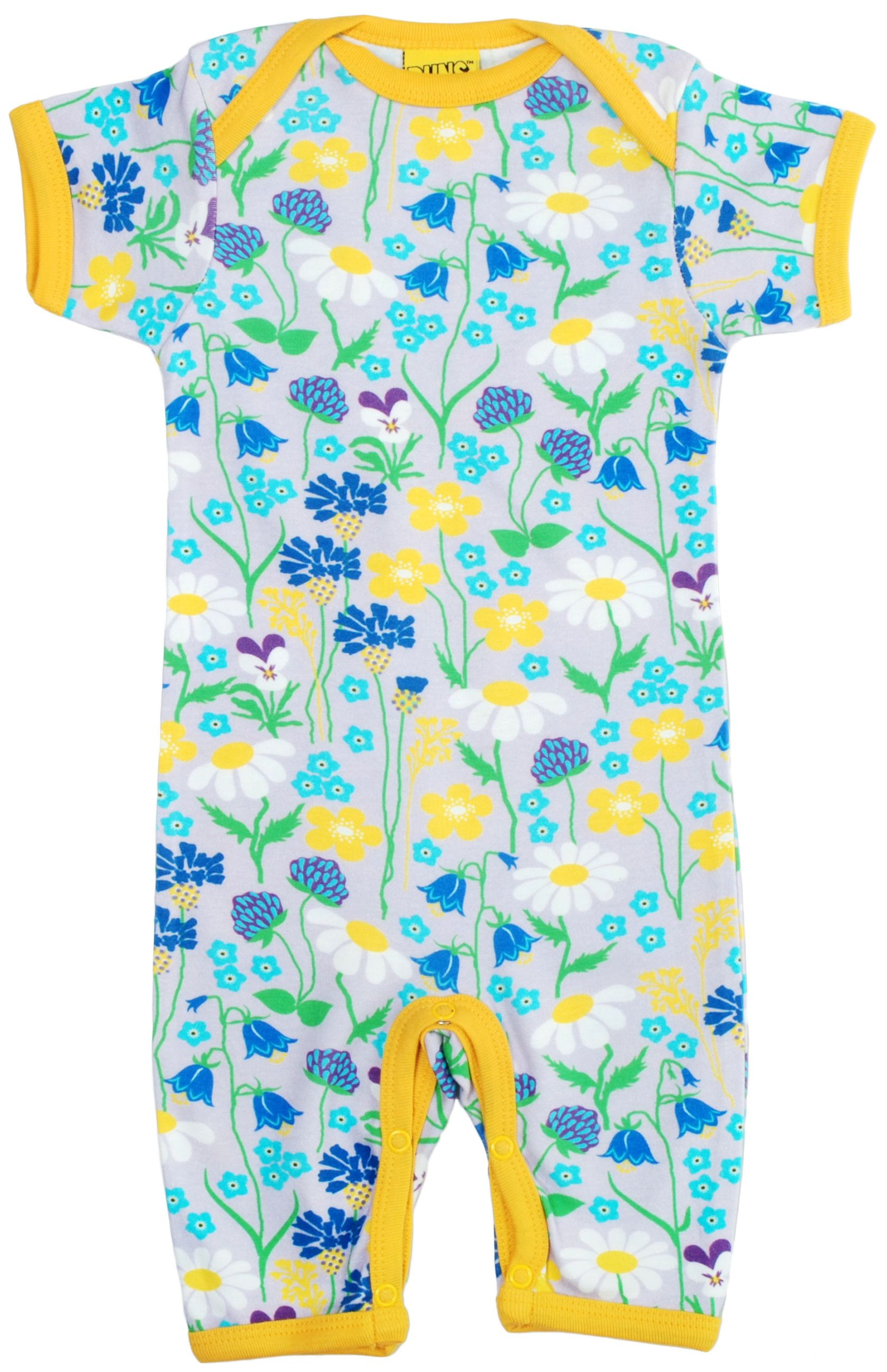 7dae1509 Midsummer Flowers in Purple Organic Cotton Summer Suit. From DUNS Sweden,  offered by Modern Rascals.