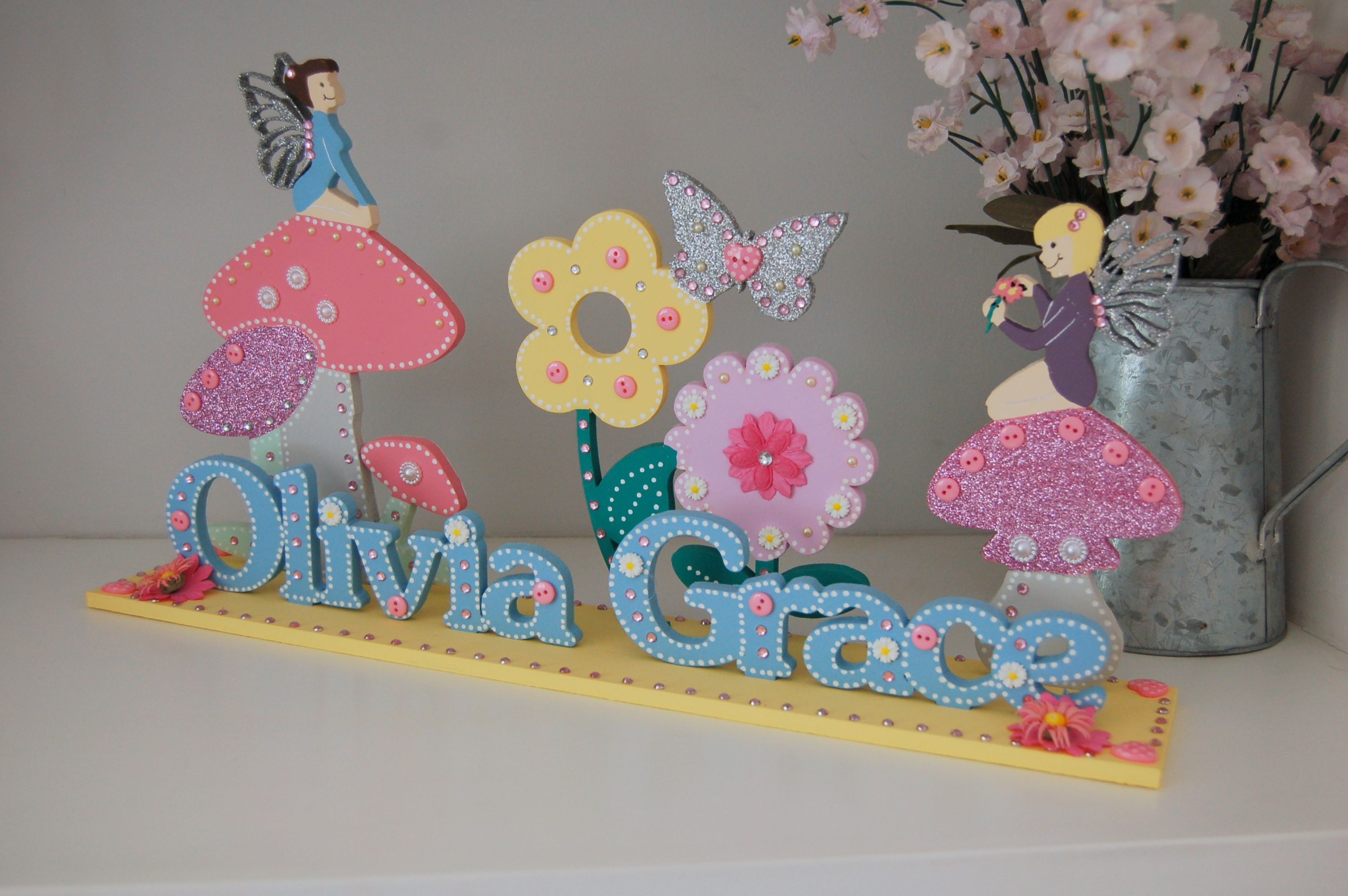 Blue Fairy Bedroom Sign Pretty Shelf Decor Glitter