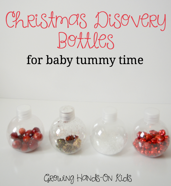 Christmas Discovery Bottles for Baby Tummy Time