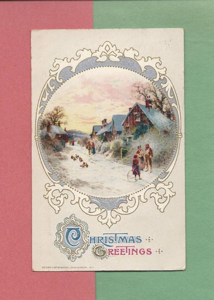 Lovely RURAL WINTER SCENE On Vintage 1913 JOHN WINSCH CHRISTMAS Postcard #Christmas