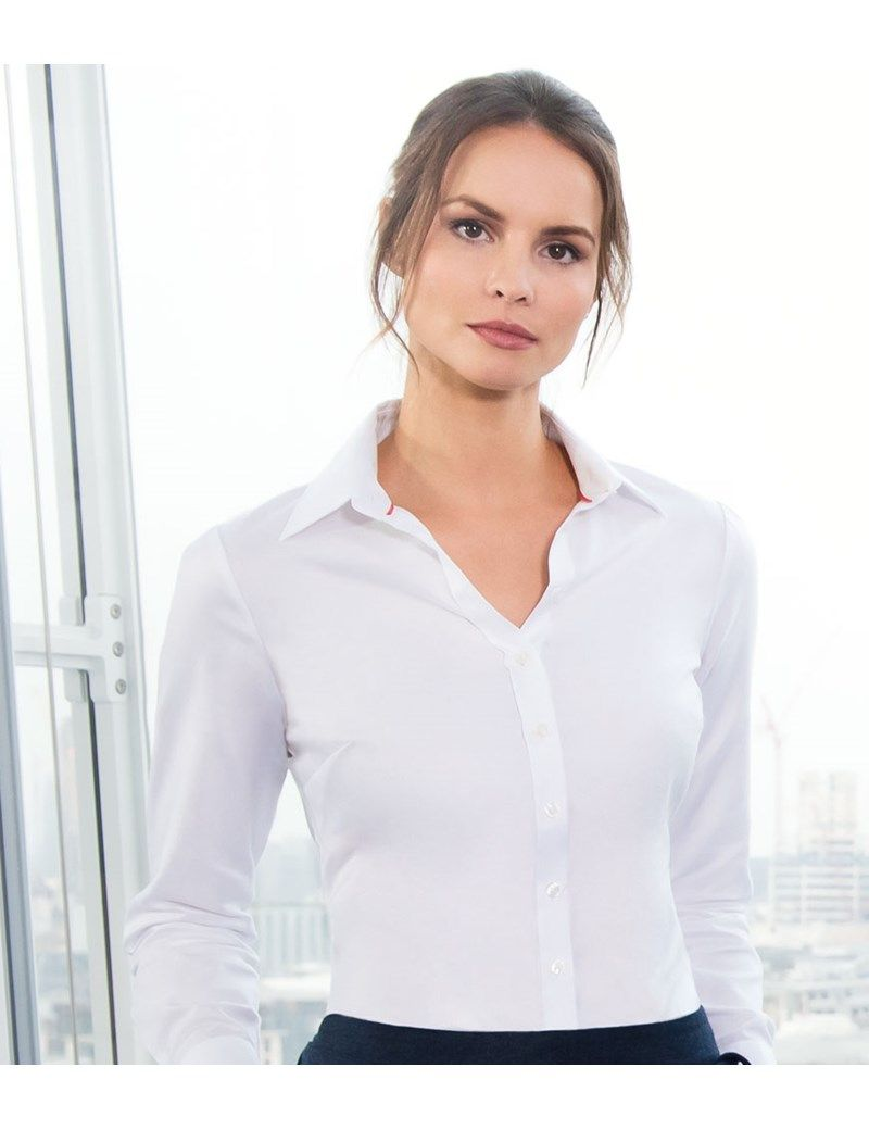 0e248177 Women's White Twill Semi Fitted Executive Single Cuff Shirt - 2 ply 100s  Cotton