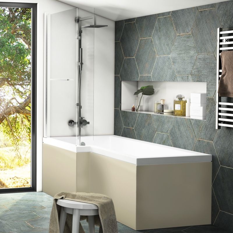 L Shape Space Saving Bath With Showering Area Perfect For Every Day Modern Living L Shape Bath Screen Completes The Shower Cubicle W Bathroom Ideas In 2019