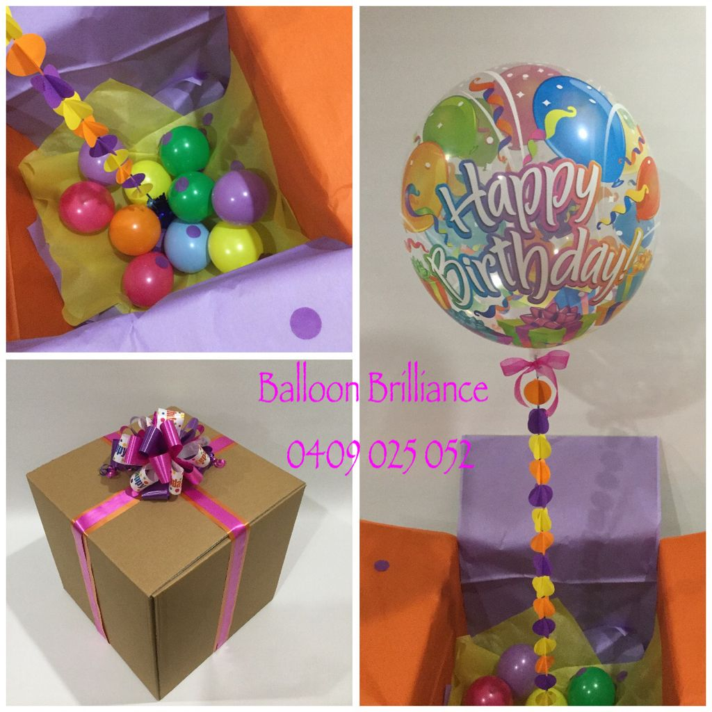 Happy Birthday Balloon Bubble In A Box With One Of Our Hand Made Garlands Birthdaysurprise Birthdayballoons Ballooninabox Sendballoonscanberra