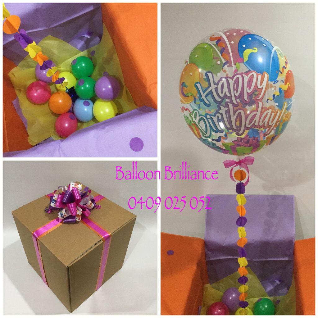 Happy Birthday Balloon Bubble In A Box With One Of Our Hand Made Garlands Birthdaysurprise Birthdayballoons Ballooninabox Sendballoonscanberra