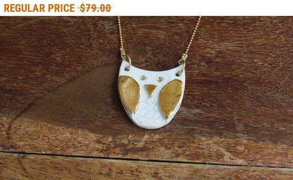SALE 25% Porcelain necklace, owl necklace, beach necklace, porcelain owl necklace, ceramic jewelry, gift for her, gift under 100, porcela...