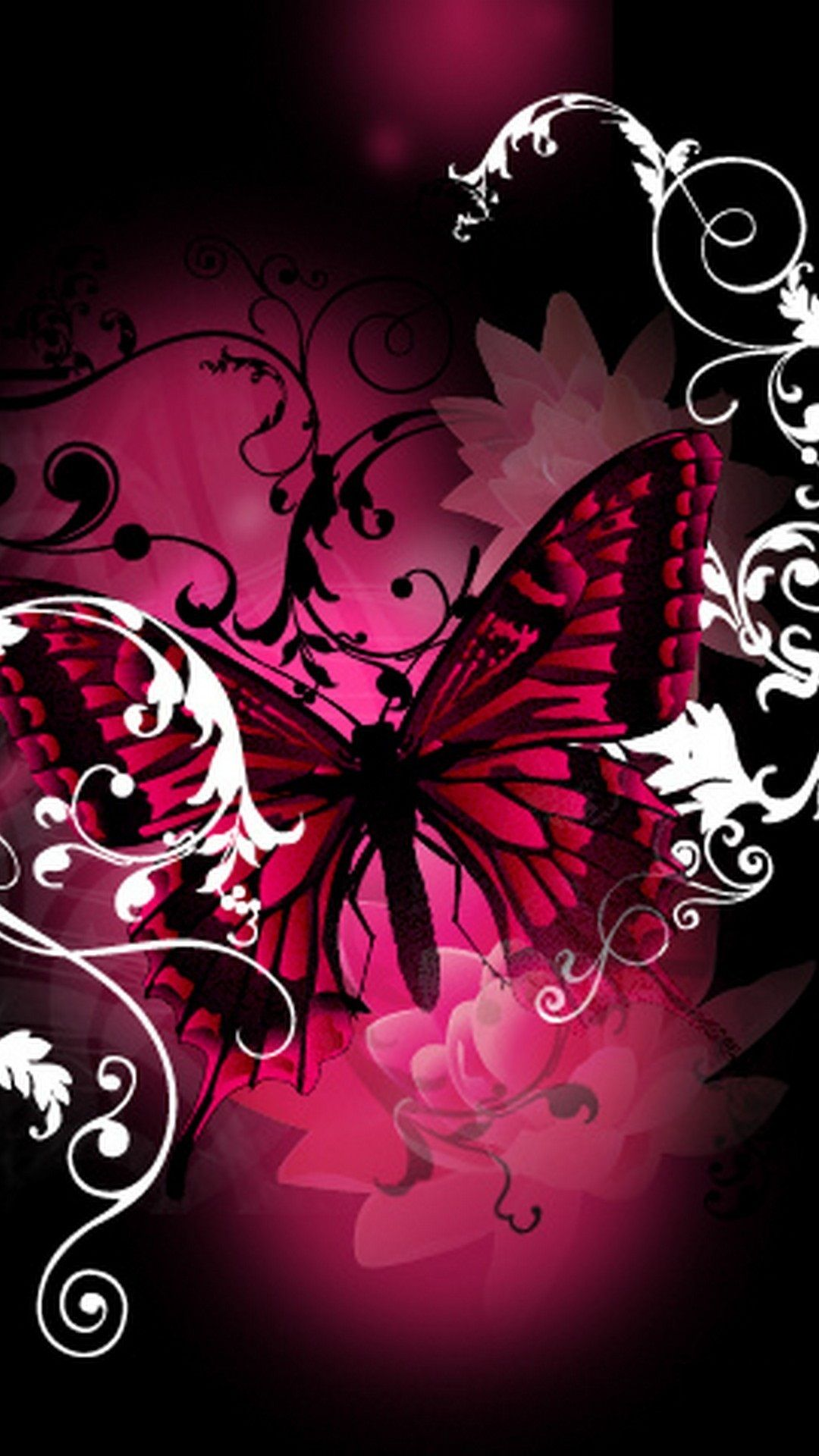 Pink Butterfly Android Wallpaper Vlinders, Achtergrond
