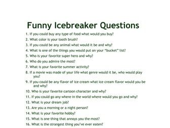 Ice breaker questions for adults dating teenagers boys