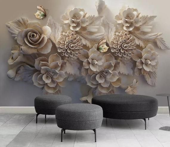 3D Floral, Embossed, Rose Bouquets Self Adhesive Removable Wallpaper    Traditional Wallpaper Materia