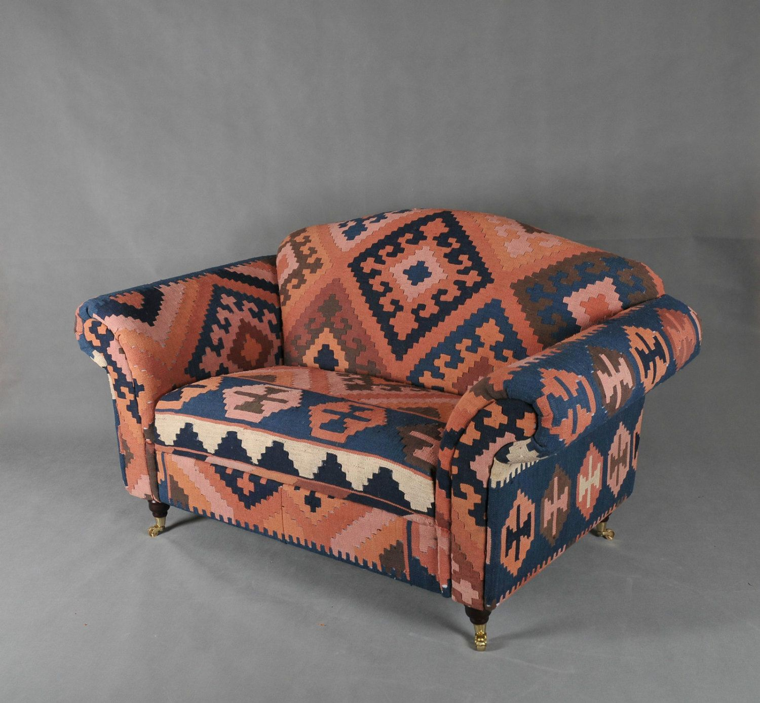 Handwoven Vintage Wool Kilim Sofa armchair chair patchwork
