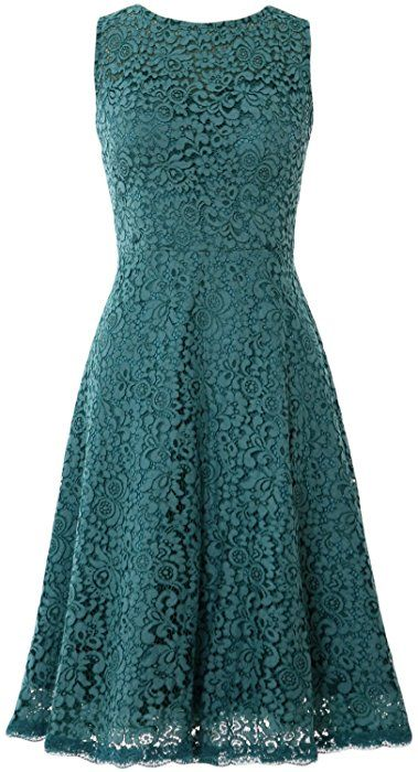MACloth Women Open Back Lace Short Wedding Party Dress Formal Cocktail Prom Gown (10, Teal)