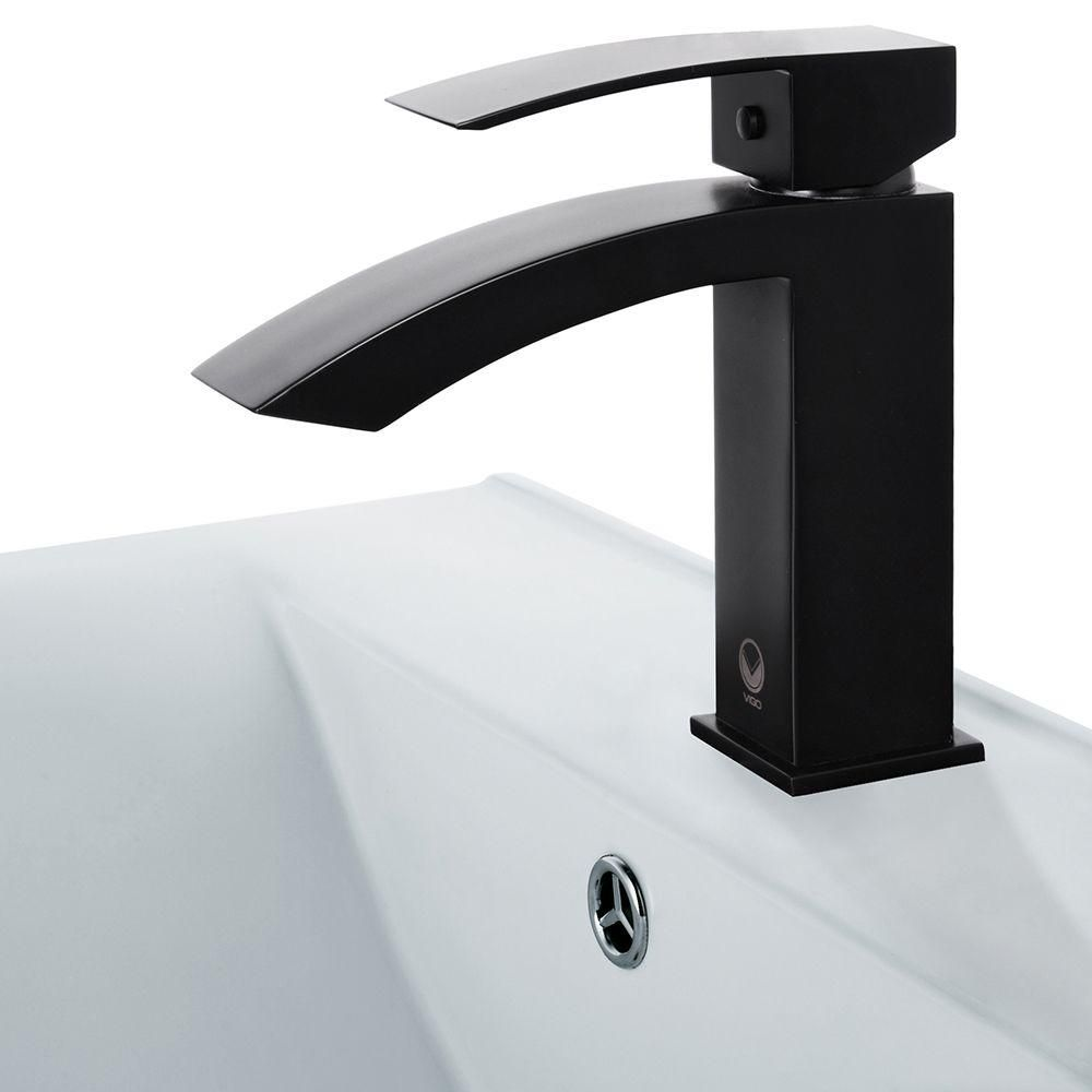 Vigo Satro Single Hole 1 Handle Bathroom Faucet In Matte Black
