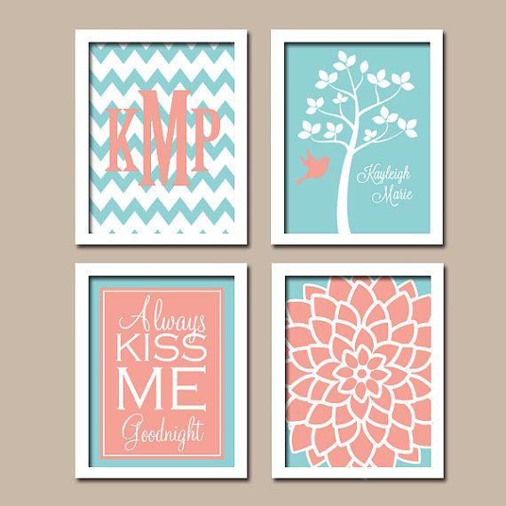 CORAL AQUA Nursery Wall Art, CANVAS or Prints Girl Nursery Custom ...