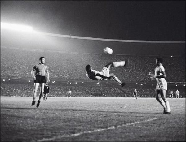 World renown soccer great Pele scoring on a bicycle kick Photo Picture