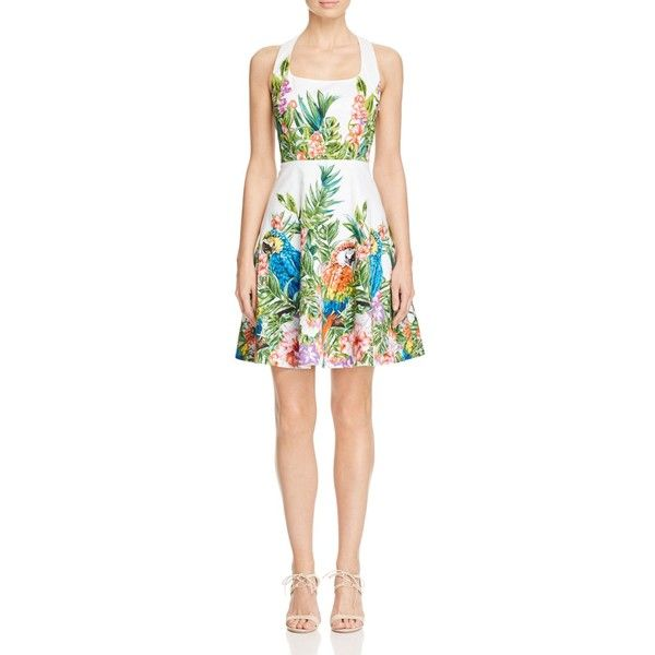 Karen Millen Atelier Botanical Print Fit-And-Flare Dress ($299) ❤ liked on Polyvore featuring dresses, multicolour, white dress, white floral dress, fit and flare dress, fit flare dress and flower print dress