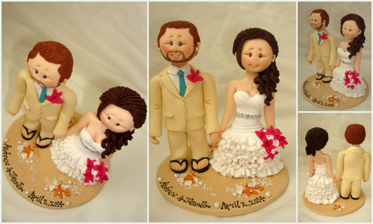 Personalised bride and groom on beach wedding cake by