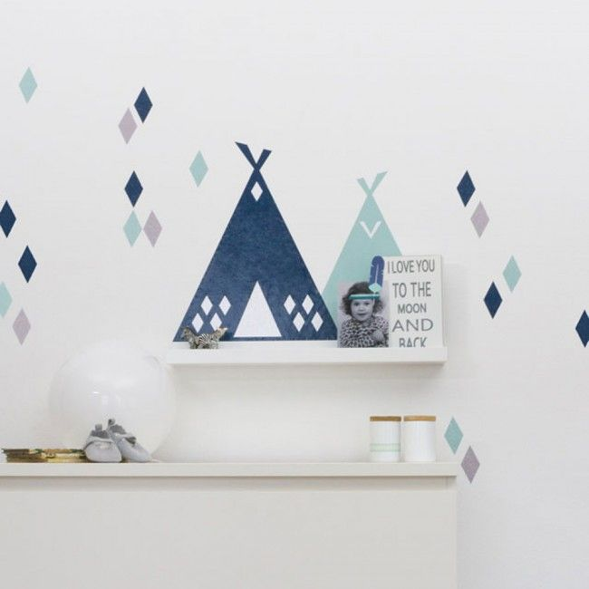 Wandregal ikea mit wandfolie tipi pimpen blaumint 01 for Wandregal kinderzimmer ikea