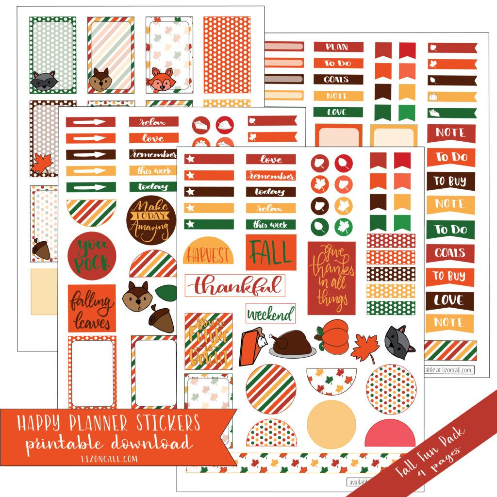A set of Happy Planner Classic Stickers, for planning all those fall holiday festivities. Thanksgiving planner stickers.