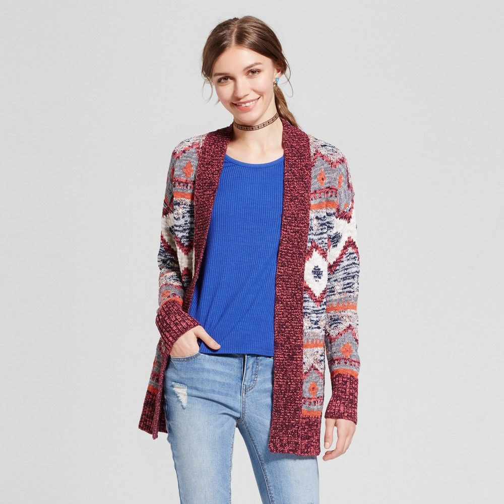 Women's Patterned Cardigan - Mossimo Supply Co. Burgundy Xxl, Red ...