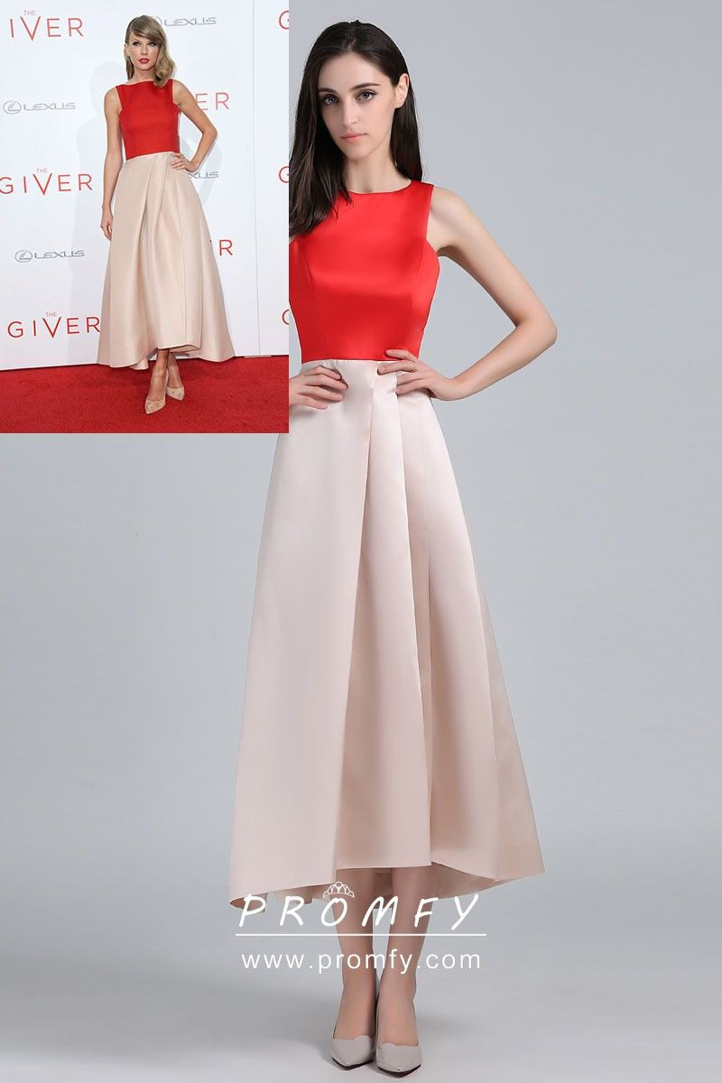 a79aba884d2 Red and Champagne Satin Two-tone Tea Length Celebrity Graduation Dress