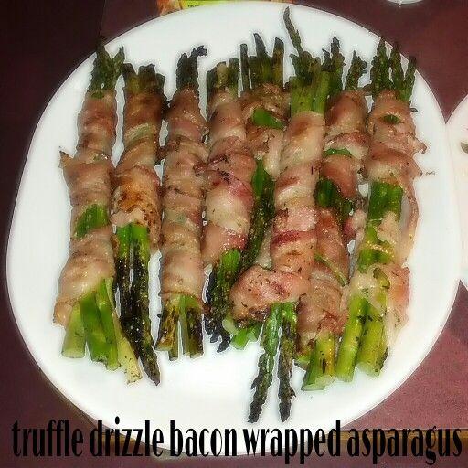 Homemade eats: truffle drizzle bacon wrapped asparagus. (@♥ Lisa Teacupe)