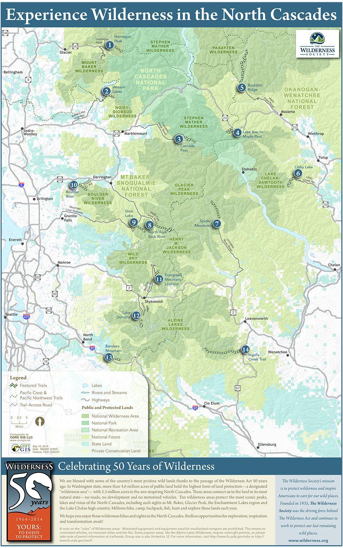 Hikes Sights North Cascades Wilderness Map Wildernessorg