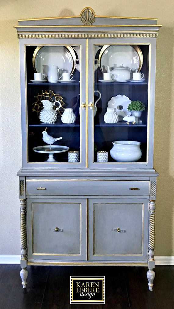 vintage hand painted china cabinet french country shabby chic chalk paint china cabinet. Black Bedroom Furniture Sets. Home Design Ideas