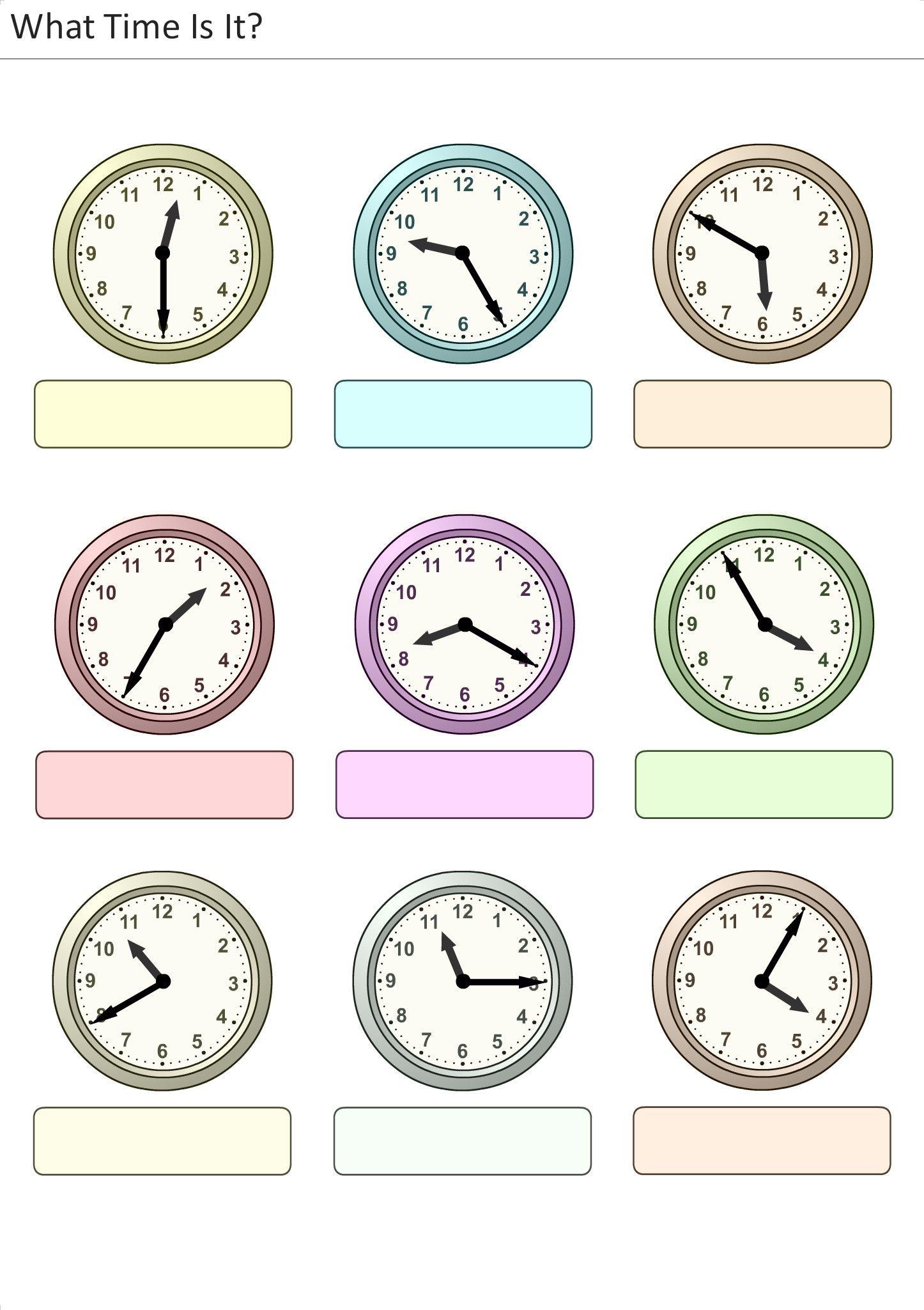 Actividades para niños preescolar, primaria e inicial. Plantillas con relojes analogicos para aprender la hora diciendo que hora es. Que hora es. 16