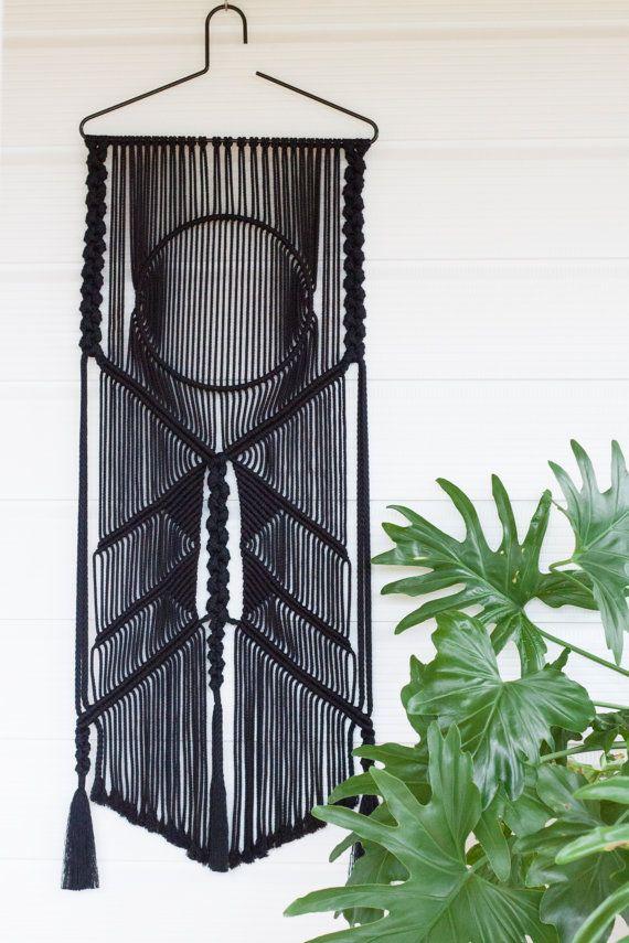 Ico Macrame Wall Hanging    Wall Art    Black Cotton    Fibre Art