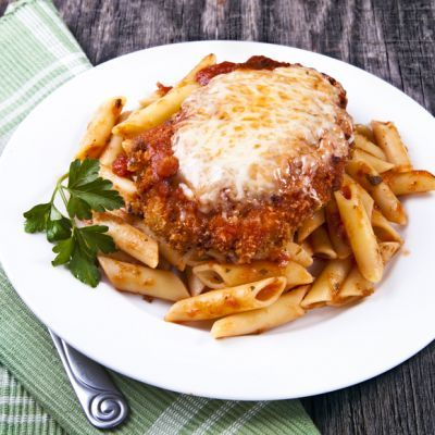 Garlic Oregano Chicken Parmesan Bake With Penn Pasta, Cook And Drain, Chicken Breasts, Pasta Sauce, Minced Garlic, Oregano, Dried Basil, Mozzarella Cheese, Parmesan Cheese