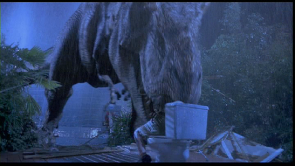 This is a Tyrannosaurus rex, eating a man on a toilet.