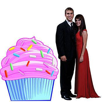 This delicious looking Cupcake Standee has bright pink frosting adorned with candy sprinkles. Our Cupcake 3 feet 4 inch high x 3 feet wide