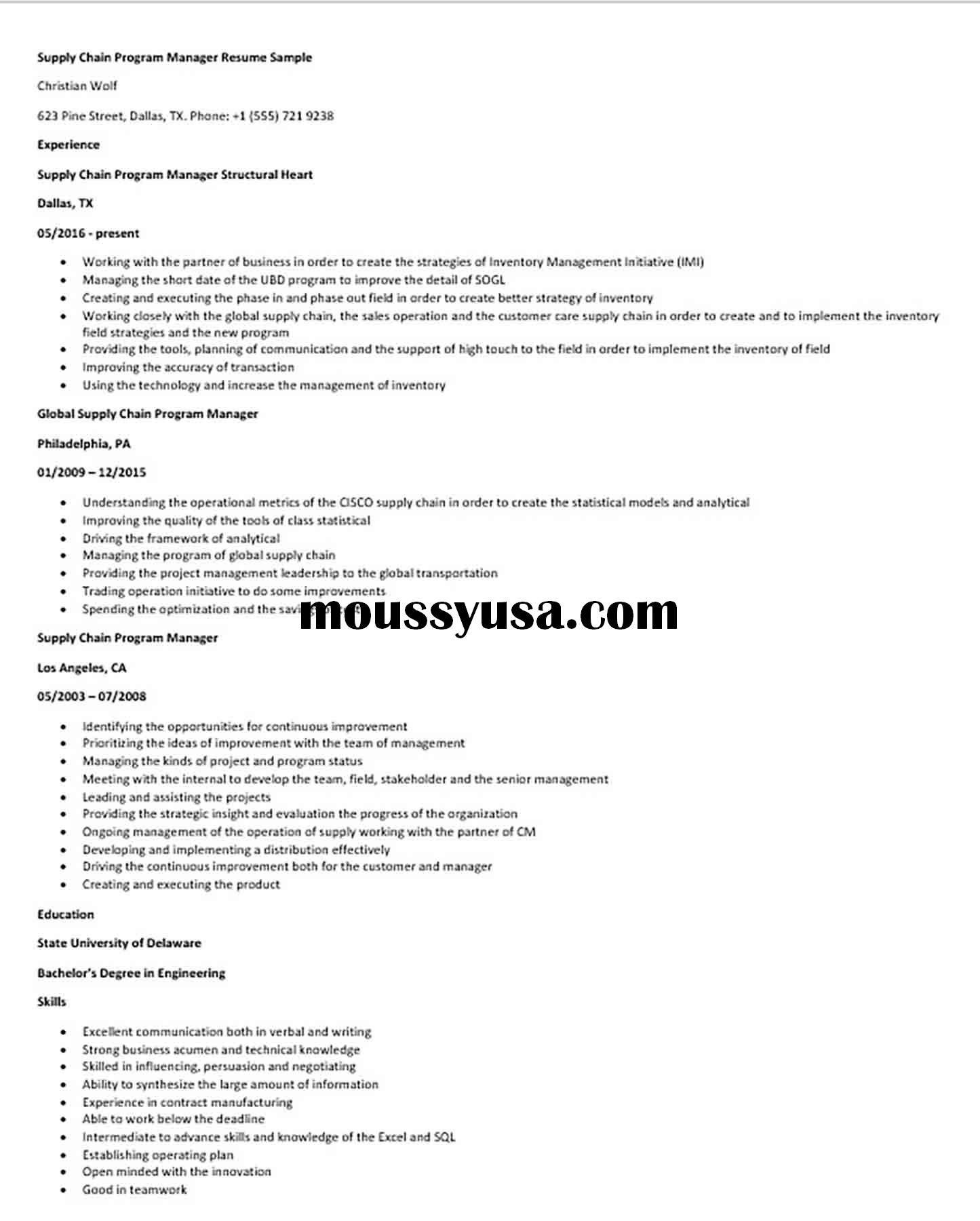 Supply Chain Program Manager Resume Sample Programme Manager Manager Resume Supply Chain