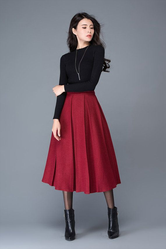 e7770939b Wine red wool skirt/maxi skirt/winter women's skirt/ by YL1dress Clothing  Catalogs