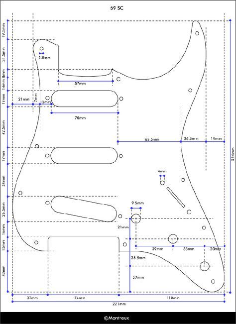 Exact dimensions of a Stratocaster pickguard Guitar Design in 2019