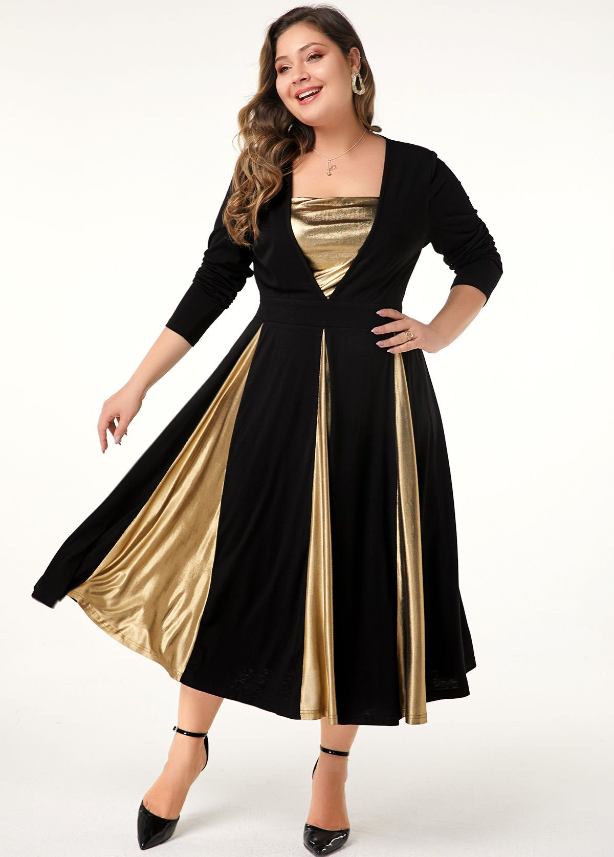 Plus Size Long Sleeve Contrast Panel Dress | modlily.com - USD $35.19 3