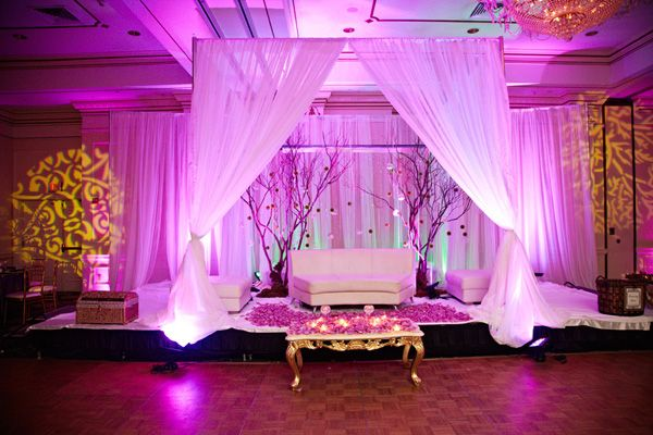 Decor backdrop centerpieces furniture chairs south for Background decoration for indian wedding