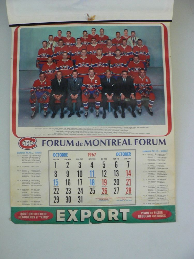 1967 68 Export A Montreal Canadiens Full Calendar Montreal Canadiens Montreal Canadiens Hockey Canadiens